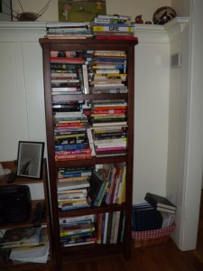 I asked Kelly recently if I should get another bookshelf for overflow, or add another library cabinet at the curb. She looked at me like I'm crazy.