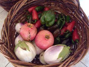 Pomegranates, 'Rosa Bianca' eggplants, and jalapeño peppers.